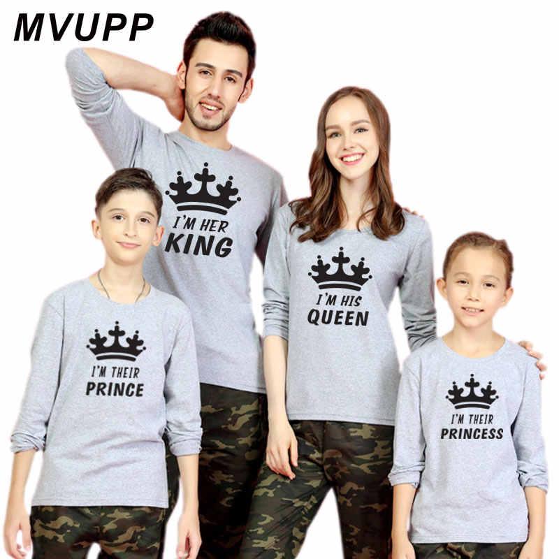 Mommy and me vestiti di corrispondenza famiglia lungo t camicia fahter madre figlio figlia rifornisce mamma della ragazza guardare re regina principe principessa