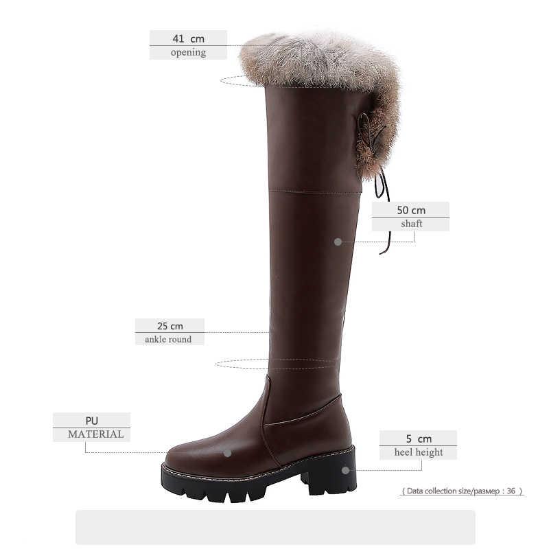 JK Snowboots Vrouwen Over De Knie Waterdichte Laars Dames Ronde Teen Casual Schoenen Vrouwelijke Platform Schoenen Hoge Hakken Schoenen winter