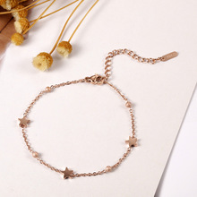 Ailodo Simple Fashion Titanium Steel Women Bracelets Rose Gold Color Star Beads Charm Party Banquet Jewelry Gift LD391