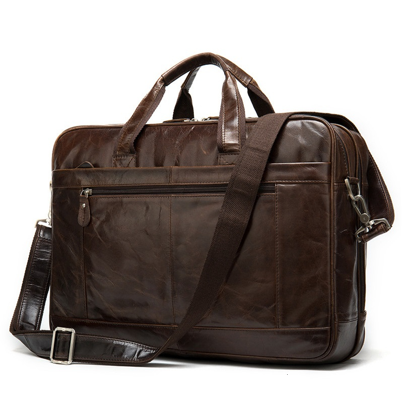 Large Capacity Men's Briefcase Bag Men's Cow Leather Laptop Bag Business Tote For Document Office Portable Laptop Shoulder Bag