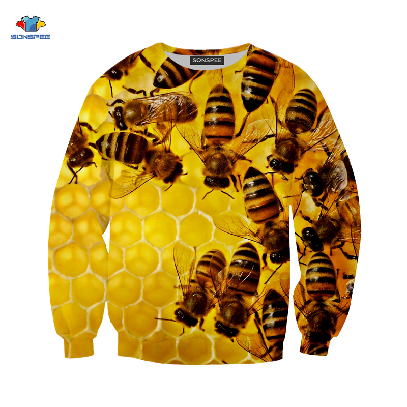 SONSPEE abeille insecte Hurajuku impression 3D homme sweat femme unisexe mode Sport sweat Costume col cadeau de noël