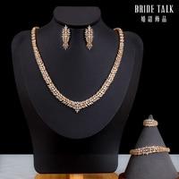Saudi Arabia 4pcs Bridal Zirconia Necklace Sets For Women Jewelry sets & More Dubai Nigeria CZ Crystal Wedding Jewelry Sets