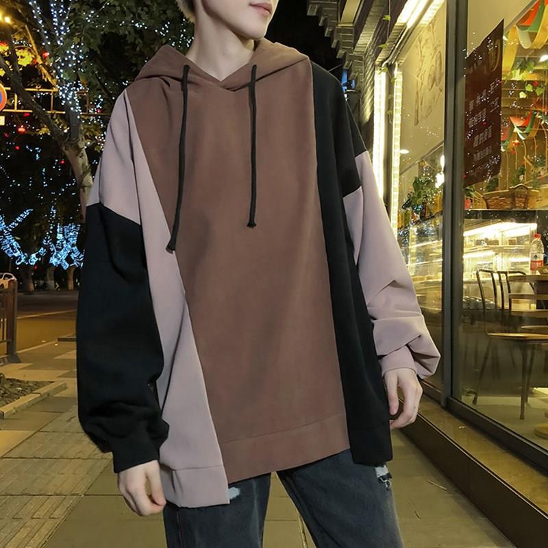 2020 Men's hoodies with velvet leisure letters printed sportswear Men's stitching Korean fashion Pullover