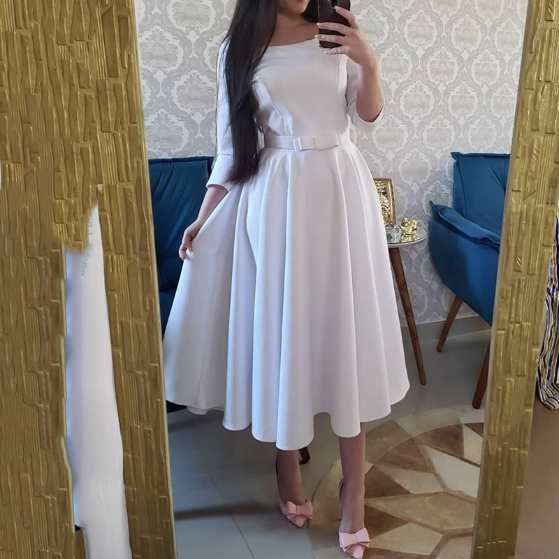 Round Neck Pleated Dress Women 2019 Autumn Long Sleeve A Line White Dresses Korean Causal Elegant Office Party Mid-Calf Vestido