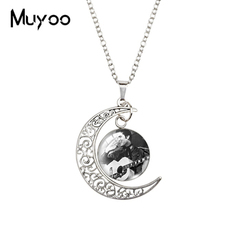 2020 New Elvis Presley Moon Necklace Rock and Roll Pendant Glass Dome Necklaces Round Jewelry Gifts image