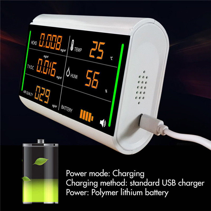 Formaldehyde Tester Digital Screen Home Air Detector USB Rechargeable TVOC HCHO Benzene/Dust/Temperature/Humidity Meter