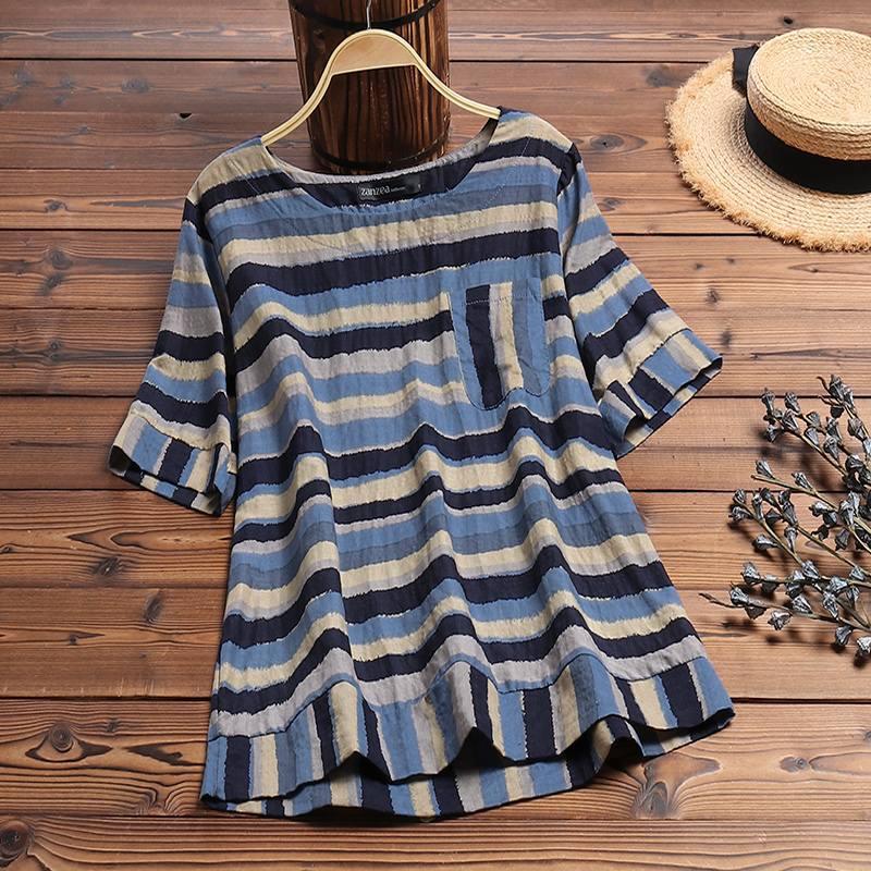 ZANZEA Women Short Sleeve Striped Blouse Summer Tops Casual Vintage O Neck Loose Shirt Plus Size Femme Blusas Chemise Tunic Top