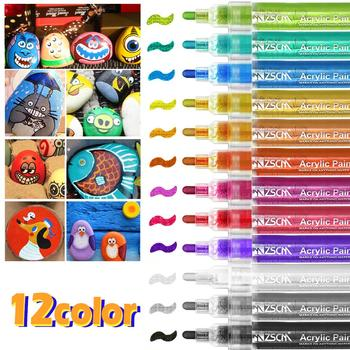 Permanent Marker Colored Acrylic Paint Markers Water-based Highlighter Marker for Tires Rock Canvas Porcelain Wood Metal Marker 6mm acrylic paint marker pens permanent non toxic acid free quick dry water based paint pen