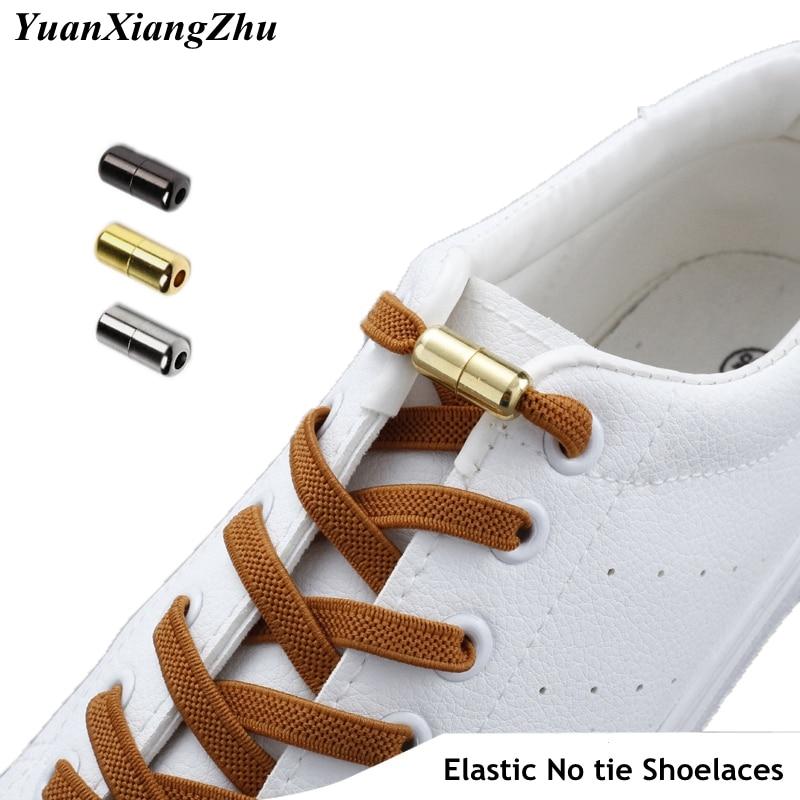 New Flat No Tie Shoe laces Elastic Metal Lock Shoelaces Special Creative Kids Adult Unisex Sneakers Shoelace Fast Lazy Laces
