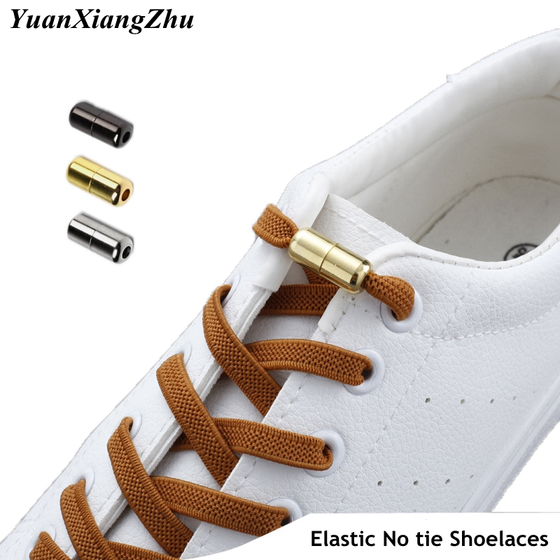 New Flat No Tie Shoe Laces Elastic Metal Lock Shoelaces Special Creative Kids Adult Unisex Sneakers Shoelace Fast Lazy Laces