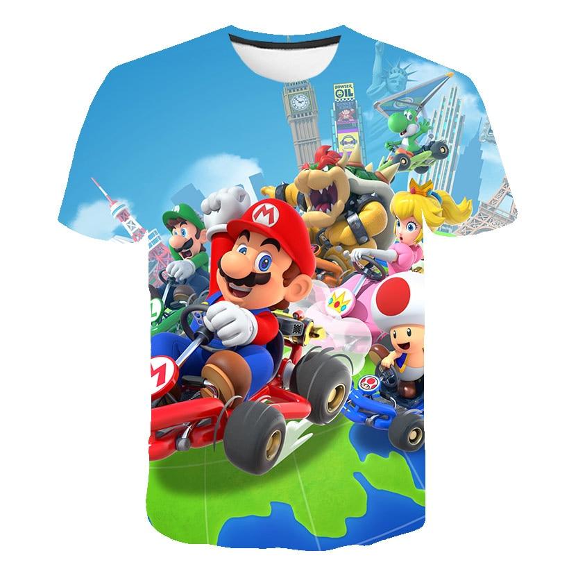Летние детские футболки с коротким рукавом, детские топы с рисунком Супер Марио для мальчиков и девочек, футболки с рисунком Марио, брата, фу...