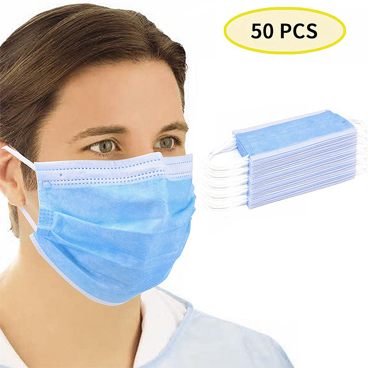 Manufacturer Supplies 3 Layers Of Ordinary Respirators Are Safe And Breathable 50 Disposable Masks For Civilian Use In Stock