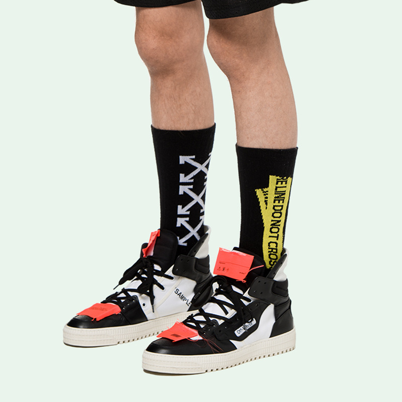 Popular Brand COUPLE'S Ulzzang Men's And Women's Tube Socks Ow Yellow Alert Lettered Socks INS Hip Hop Athletic Socks Cotton Soc