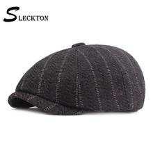 Newsboy-Caps Blinder Hats Berets-Cap Retro Winter Casual Tweed SLECKTON for Men Octagonal