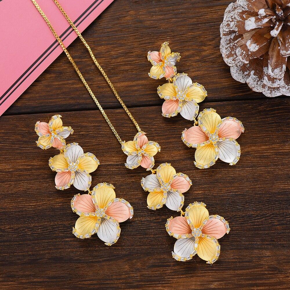 Kellybola luxo flor flor anel colar brinco