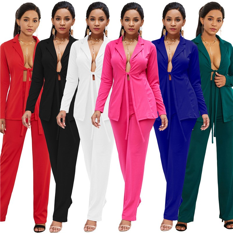 Women Work Fashion Pant Suits 2 Piece Set Sexy Lace Up Bowknot Jacket Blazer And Lady Office Trouser Suit Set