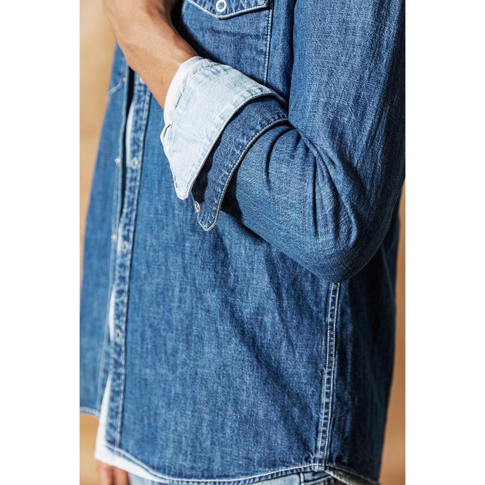 Image 4 - Мужская джинсовая рубашка SIMWOOD, Повседневная рубашка из 100%  хлопка с пуговицами, большие размеры, качественная брендовая одежда,  весна 2020, 190407Повседневные рубашки