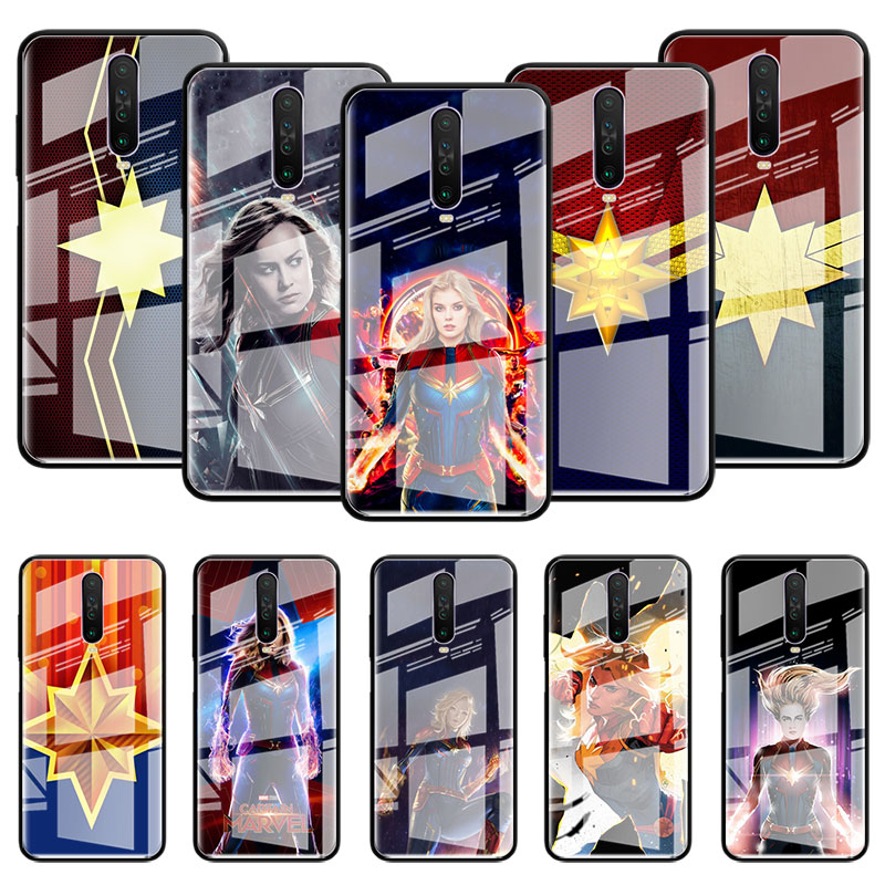 Captain <font><b>Marvel</b></font> Superhero Glass <font><b>Case</b></font> For Samsung Galaxy S10 S20 Ultra 5G S10e S9 S8 Plus Note 9 10 Lite Tempered <font><b>Phone</b></font> Coque image