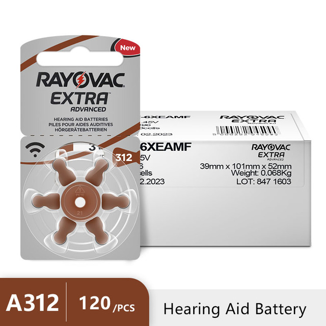 120 個 Rayovac 余分な亜鉛空気補聴器電池 A312 312A ZA312 312 PR41 補聴器バッテリー A312 用援助