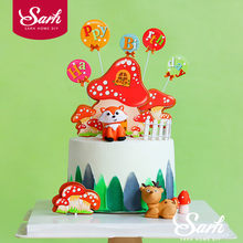 Sika Deer Lion Owl Mushrooms Cake Topper for Birthday Party Decor Bear Animal Baby Shower Kid Baking Supplies Wedding Love Gifts(China)