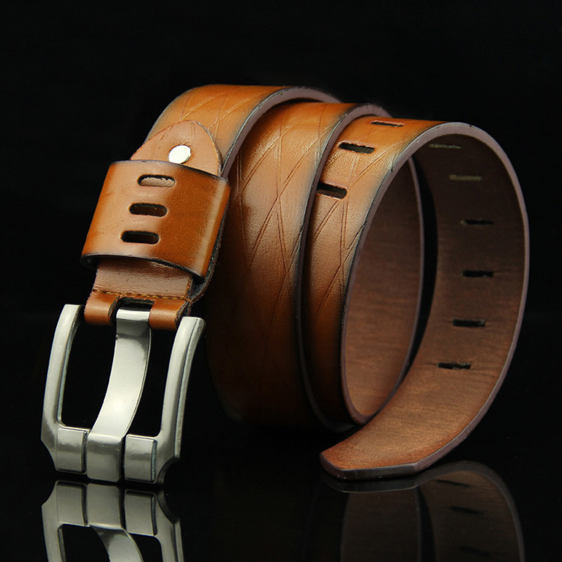 Men Metal Pin Buckle Casual Belt Luxury Vintage Male Leather Strap High Quality Fashion Imitation Leathers Suitable For Pants