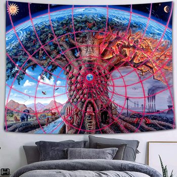 Simsant Mushroom Forest Castle Tapestry Fairytale Trippy Colorful Butterfly Wall Hanging Tapestry for Home Dorm Fantasy Decor 46