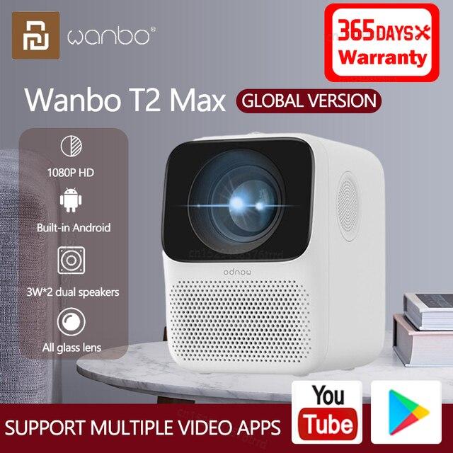 Xiaomi الإصدار العالمي من Wanbo T2 Max LCD Projector ، 1080P ، تصحيح عمودي ، محمول ، للسينما المنزلية