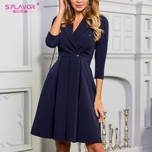 S.FLAVOR Women Slim A Line Blazer Dress Women Office Working Pleated Dresses Double Button Style Spring Dresses