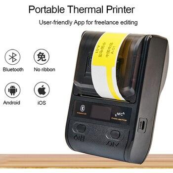 Tragbare Bluetooth Thermische Label Drucker Mini 58/80mm Empfang Drucker Für Mobile Android iOS/Windows