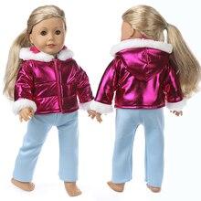Bebê recém nascido roupas de boneca jaqueta cor roxa casaco com capuz 18 Polegada boneca americana roupas inverno casaco