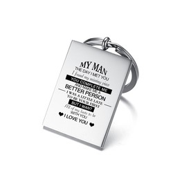 Vnox Stainless Steel Mens Key Chain Custom Engraving MY MAN I WANT All of my lasts to be WITH YOU Promise Love Gifts for Husband