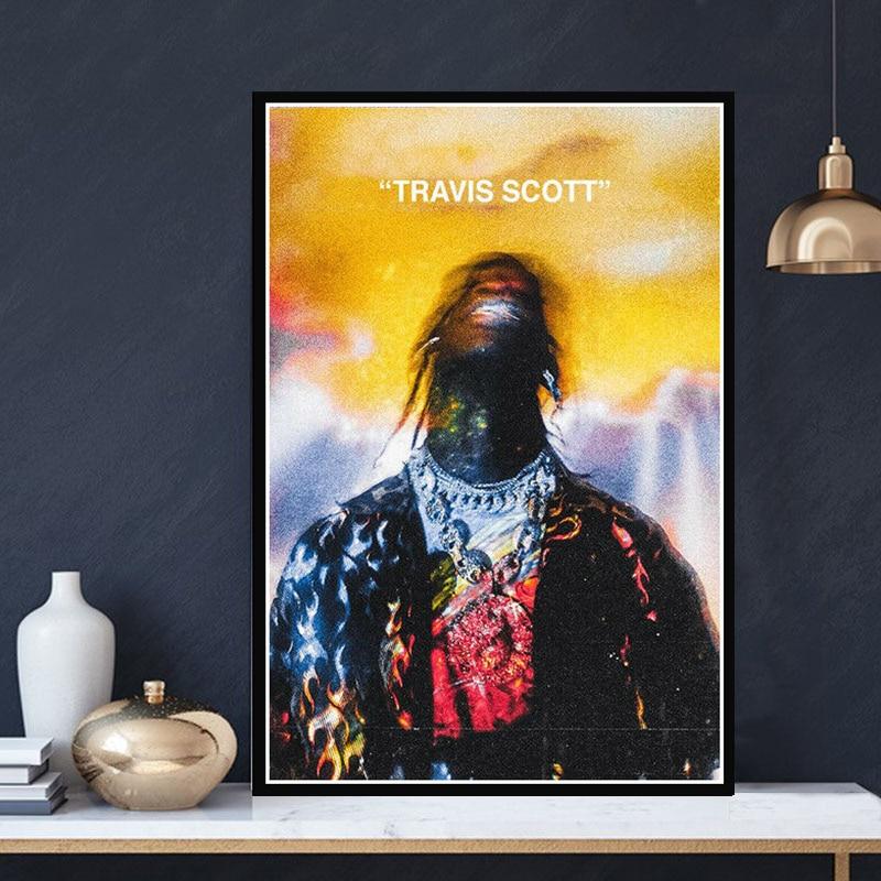 Travis Scott Astroworld Hip Hop Rap Music Star Album Poster Prints Painting Art Wall Pictures Living Room Home Club BAR Decor