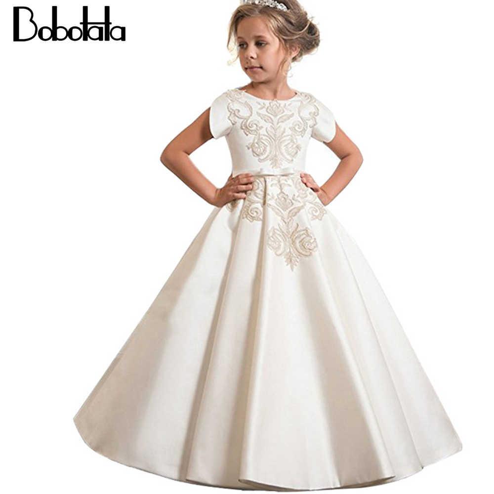Bobotata Vestido Largo De Dama De Honor Para Niñas Vestidos De Novia Para Niñas Bordado Fiesta Princesa Vestido Disfraz Para Niños 4 8 10 12 Años