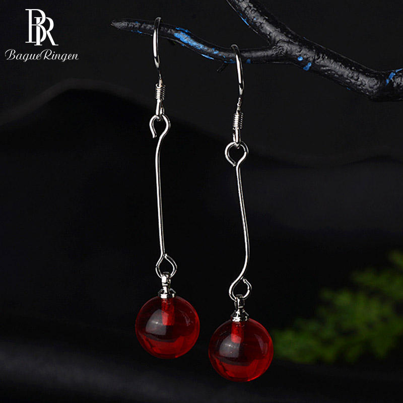 Bague Ringen Ethnic Silver 925 Jewelry Earrings With Round Carnelian Gemstone Long Line Earrings Fine Jewelry For Women Gift