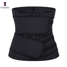Corset Shapewear Waist-Trainer Belts Cincher Latex Two-Straps Elastic Unerbust 7-Steel boned-Hooks