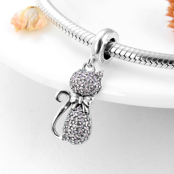 Sparking Cat Sterling Silver Charm