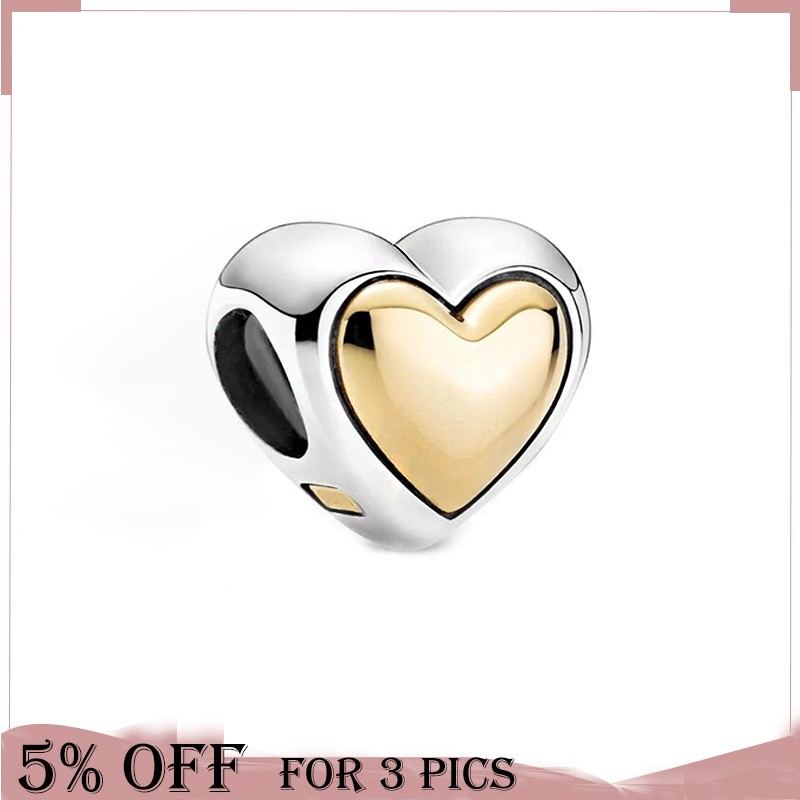 Mother's Day Two Tone Domed Golden Heart Charm 925 Sterling Silver Beads Fit Original Pandora Bracelet Women Jewelry Gift