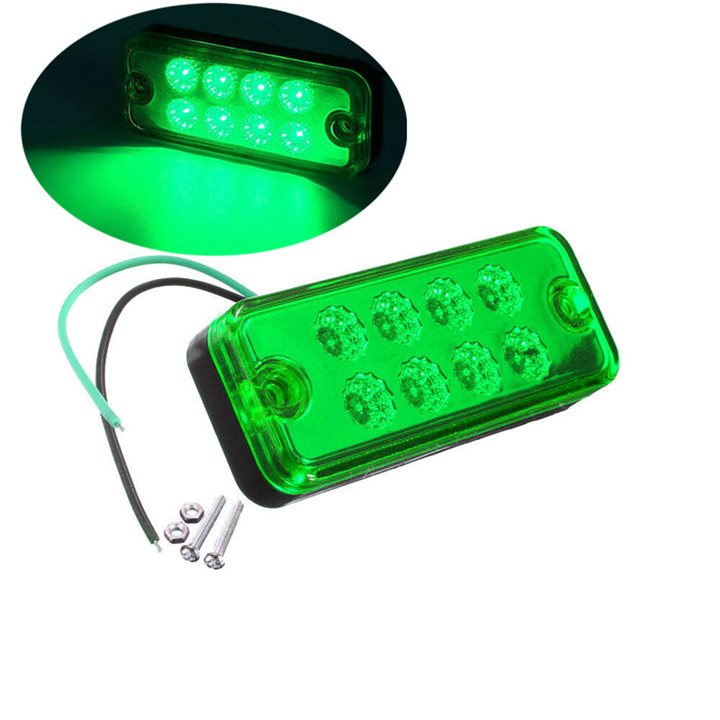 8LED Truck Light LED Side Marker Light Trailer Light Caravan Rectangle Truck Trailer Green 12V Markerings Light