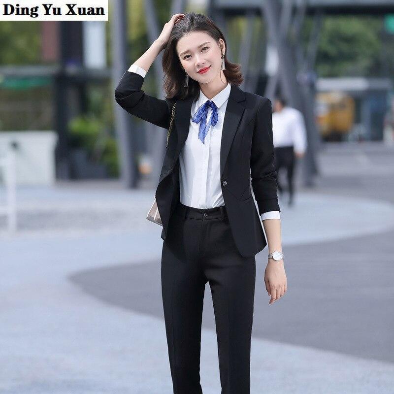 2020 New Office Uniform Designs Women Work Office Trouser Suit Womens Black Gray Formal Pant Suits Set 2 Pieces Blazer and Pants