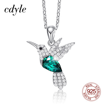 Cdyle Hummingbird Jewellery 925 Sterling Silver Link Chain Necklace Embellished with Crystal from Swarovski Women Pendant
