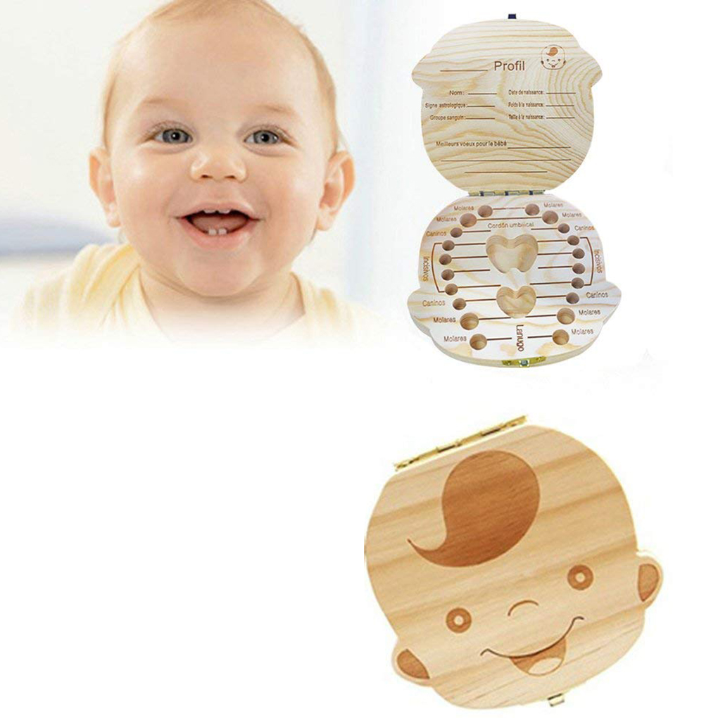 Wooden Baby Tooth Storage Box Teeth Container Storage Case Newborn Souvenir Children Birthday Gift