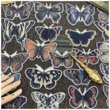 21 pçs do vintage preto borboleta adesivos diy scrapbooking álbum diário artesanato planejador diy adesivos decorativos pacote
