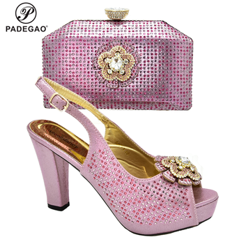 New Arrival Pink Woman Sandals With Matching Bags Set African Rhinestone High Heels 8M Shoes And Matching Bag Set For Party