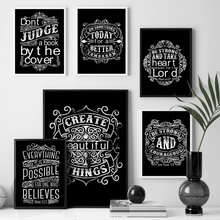 Black White Motivational Quotes Wall Art Canvas Painting Nordic Posters and Prints Retro Picture For Living Room Bar Decor