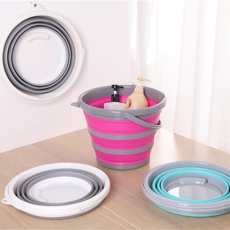 Cubo plegable de silicona de 5L/10L, para lavado de autos, pesca, baño, cocina, viaje, para acampar al aire libre, almacenamiento para el hogar