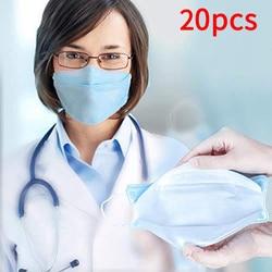 Mascarilla desechable máscara de boca máscara de filtración antipolvo máscaras de Virus desechables 20 piezas