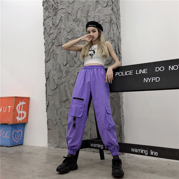 High Waist Cargo Pocket Loose Wide Jogger Pant Women 2020 Korean Punk Pants Workout Streetwear Harajuku Joggers 2020 women high waist loose joggers drawstring streetwear cargo pants solid big pocket causal pants punk trousers
