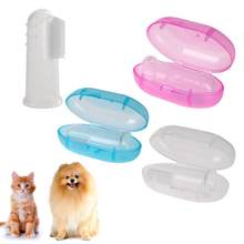 Pet Finger Toothbrush Soft Silicone Dog Tooth Cleaner Cat Puppy Teeth Cleaning Dental Care Dogs Pet Pink, white, blue(China)