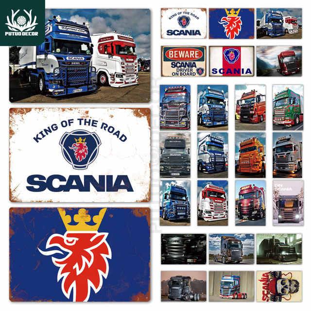 Scania металлическая табличка, металлическая винтажная Жестяная Табличка, металлический плакат, Настенный декор для гаража, бара, паба, челове...