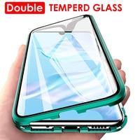 Funda magnética de Metal para Xiaomi Redmi Note 10 9 9A 9C 9S 9T K40 8T 8A 7 Poco M3 X3 NFC 10T Pro, funda de vidrio templado de doble cara